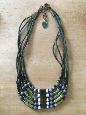 Collar estilo collier verde hierba-azul celeste