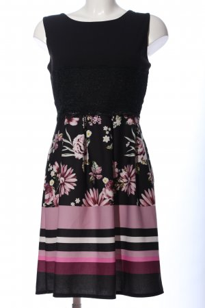 Colloseum Abendkleid schwarz-pink Blumenmuster Casual-Look