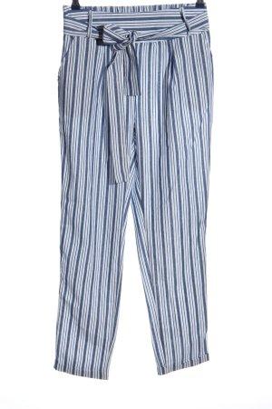 Colloseum Pantalone largo bianco-blu motivo a righe stile casual