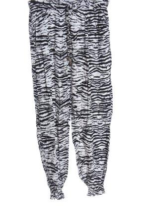 Colloseum Pantalón abombado blanco-negro estampado con diseño abstracto