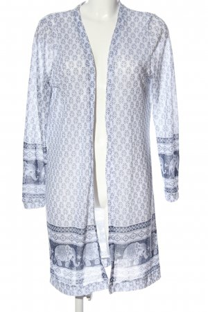Colloseum Cardigan weiß-blau grafisches Muster Casual-Look