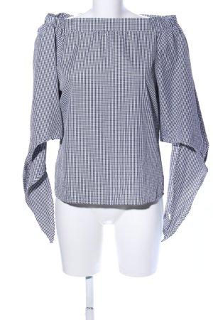Colloseum Carmen blouse zwart-wit geruite print zakelijke stijl