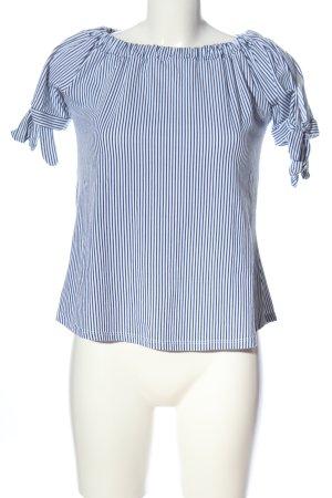 Colloseum Top épaules dénudées bleu-blanc imprimé allover style d'affaires