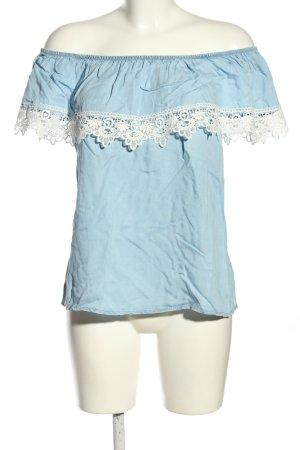 Colloseum Camisa tipo Carmen azul-blanco look casual