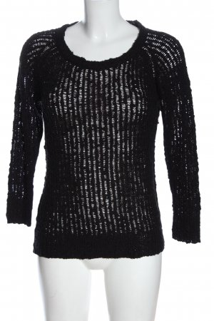 Colloseum Crochet Sweater black weave pattern casual look