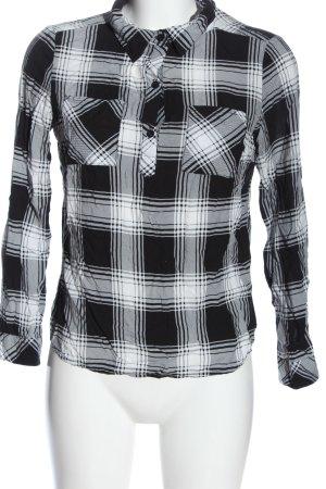 Colloseum Camicia blusa nero-bianco motivo a quadri stile casual