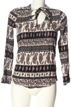 Colloseum Camicia blusa bianco-nero motivo astratto elegante