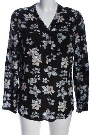 Colloseum Camicia blusa nero-grigio chiaro motivo floreale stile casual