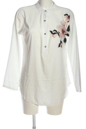 Colloseum Camicia blusa bianco sporco motivo floreale stile professionale