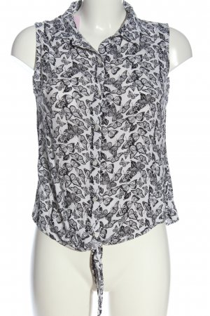 Colloseum Camicia blusa bianco-nero stampa integrale stile casual