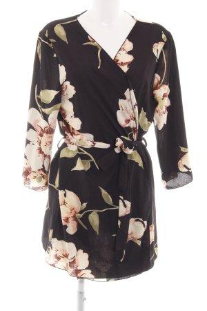 Colloseum Kimono nero-color carne motivo floreale stile casual