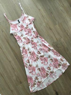 Colloseum Kleid Blumen Viskose rosa braun weiß Gr. XS