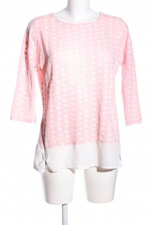 Colloseum Langarm-Bluse pink-wollweiß Allover-Druck Casual-Look