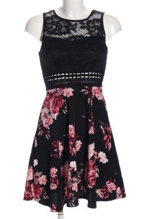 Colloseum Minikleid schwarz-pink Blumenmuster Casual-Look