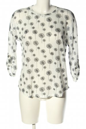 Colloseum Rundhalspullover weiß-schwarz abstraktes Muster Casual-Look