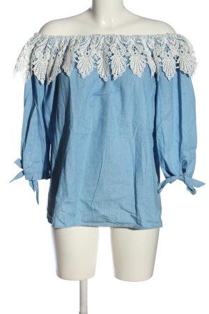 Colloseum Schlupf-Bluse blau-weiß Casual-Look