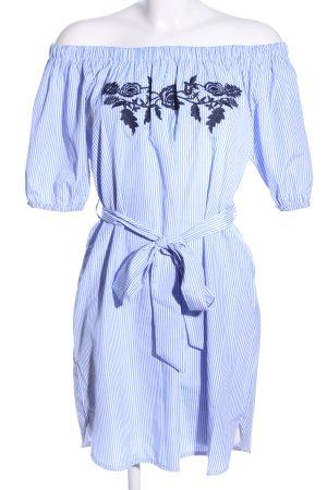 Colloseum schulterfreies Kleid blau-weiß Streifenmuster Casual-Look