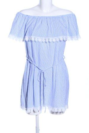 Colloseum schulterfreies Kleid blau-weiß Allover-Druck Casual-Look