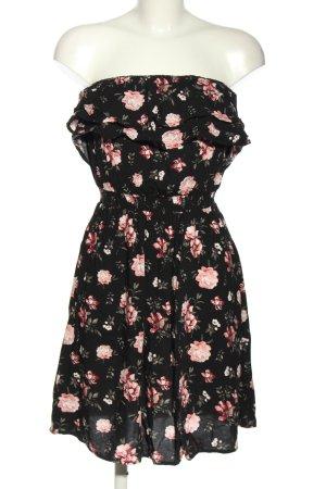 Colloseum schulterfreies Kleid schwarz-pink Allover-Druck Elegant