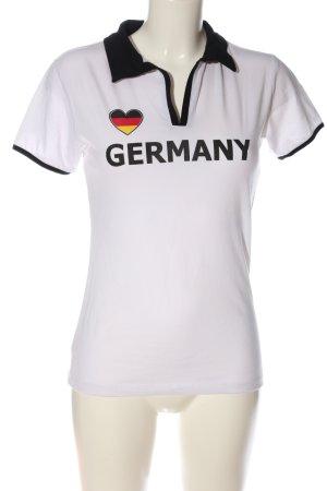 Colloseum V-Ausschnitt-Shirt weiß-schwarz Schriftzug gedruckt Casual-Look