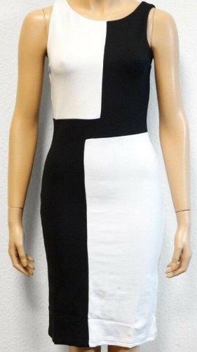 b.p.c. Bonprix Collection Vestido elástico negro-blanco Viscosa