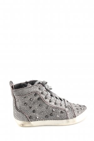 Colors of California Lace-Up Sneaker light grey allover print casual look