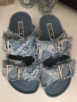 Colors of California Sandalias cómodas azul acero