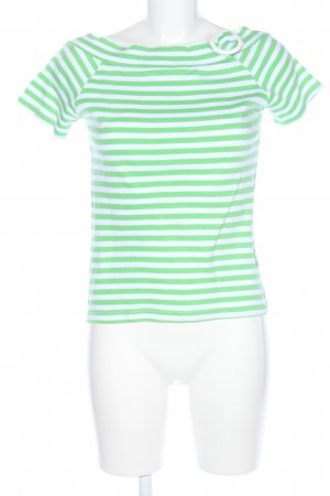 Colors of the world Boatneck Shirt green-white striped pattern casual look