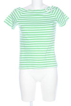 Colors of the world Top à col bateau vert-blanc motif rayé style décontracté