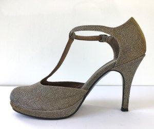 Tamaris Zapatos de tacón con barra en T color plata-color oro