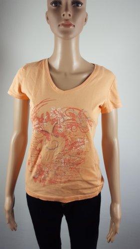 Colours of the World Damen T-Shirt Shirt V-Ausschnitt orange Strass Größe S