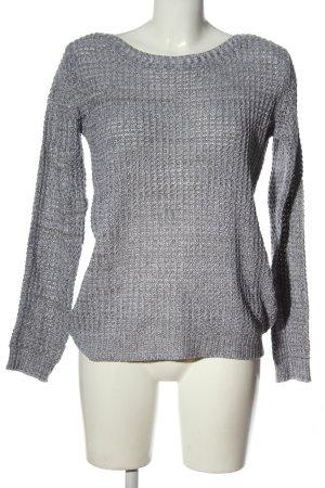 Colours of the World Szydełkowany sweter jasnoszary W stylu casual