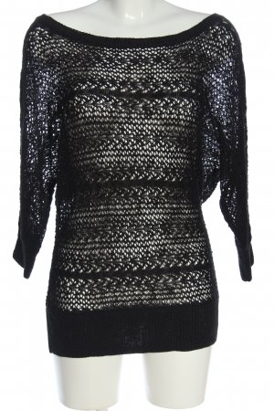 Colours of the World Crochet Sweater black casual look