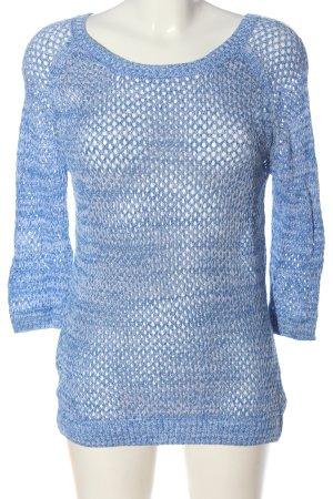 Colours of the World Pull en crochet bleu moucheté style décontracté