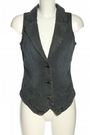 Colours of the World Gilet en jean noir-gris clair motif rayé