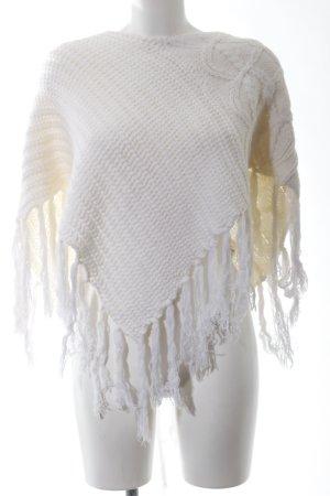 Colours of the World Poncho blanc cassé torsades style décontracté