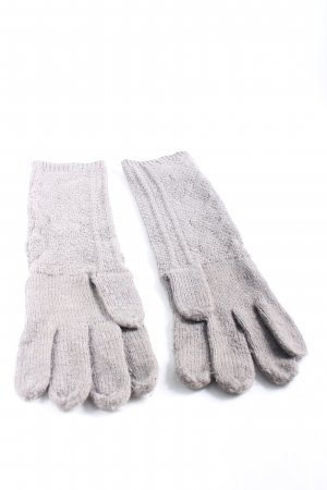Colours of the World Gants en tricot gris clair torsades style décontracté