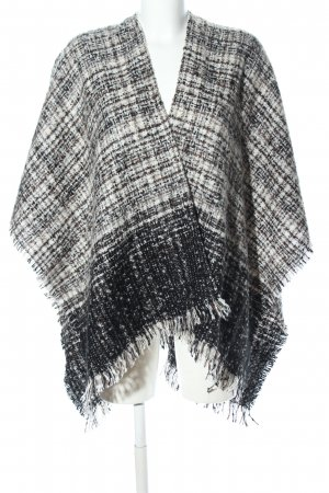 Colours of the World Strickponcho schwarz-wollweiß Karomuster Casual-Look