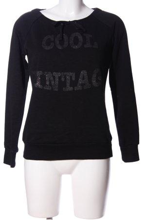 Colours of the World Sweatshirt schwarz-hellgrau Motivdruck Casual-Look