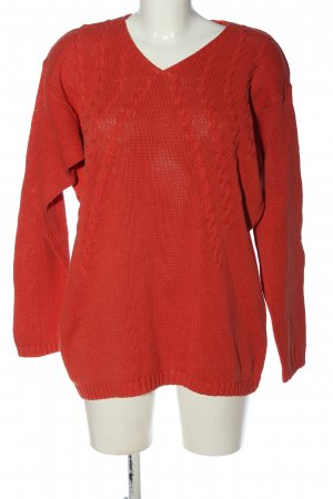 ColourVille V-Neck Sweater red cable stitch casual look