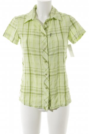 Columbia Short Sleeved Blouse lime-green-pale green check pattern athletic style