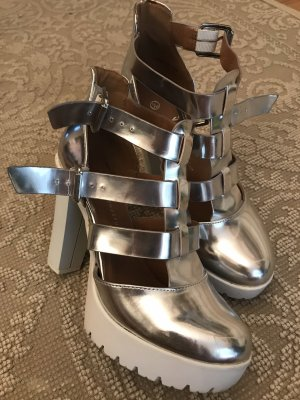 Comfy plateau highHeels fashion silver