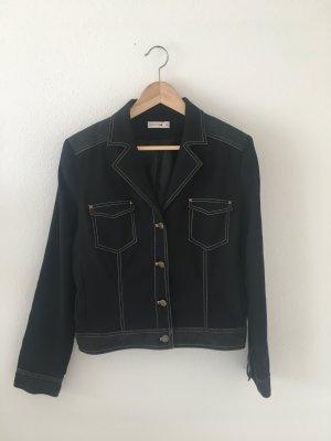 Comma 38 Blazer Jacke  schwarz elastisch Elasthan Stretch gefüttert bequem Kontrastnähte beige camel Denim Black