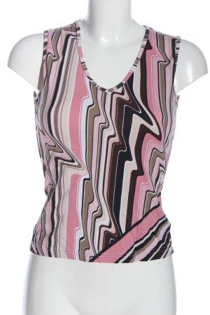 Comma ärmellose Bluse pink-braun abstraktes Muster Casual-Look