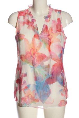 Comma Blusa senza maniche rosa-bianco stampa integrale stile casual