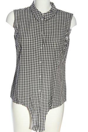 Comma Blusa senza maniche nero-bianco motivo a quadri stile casual