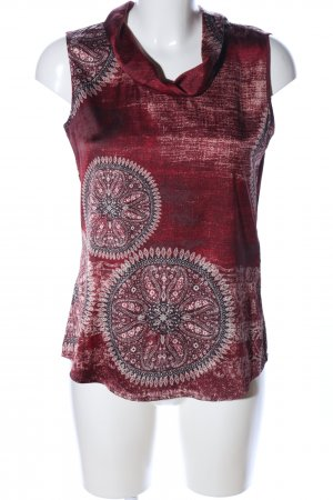 Comma ärmellose Bluse rot-wollweiß abstraktes Muster Casual-Look