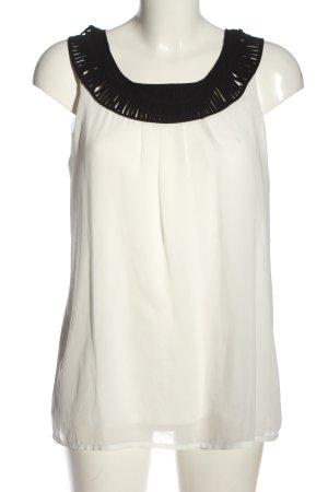 Comma ärmellose Bluse weiß-schwarz Casual-Look