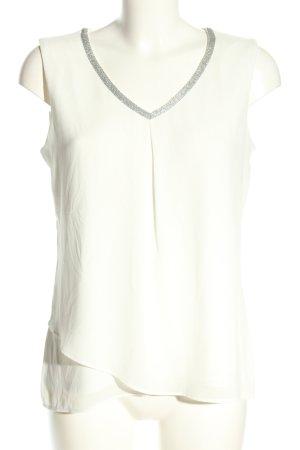 Comma ärmellose Bluse weiß-silberfarben Casual-Look