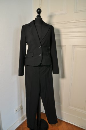 comma Anzug 34 36 Blazer mit Hose Schwarz 2 Teiler